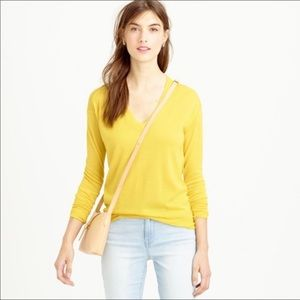 J. Crew Yellow V-Neck Sweater Size Size Small